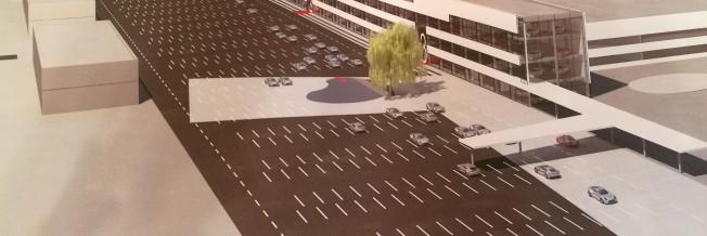 Parduodamas arba išnuomojamas 6-ių aukštų prekybos/biurų pastatas su 482 parkavimo vietų aikštele, Kaune Pramonės/Chemijos g. sankryžoje